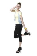 Full length pretty fashion model Posing isolated