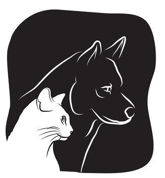 chien et chat logo - vétérinaire