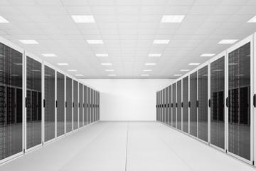 long row of server racks
