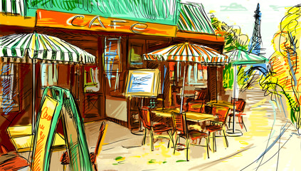 Papiers peints Drawn Street cafe Paris street - illustration