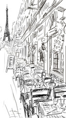 Fotorolgordijn Illustratie Parijs Paris street - illustration