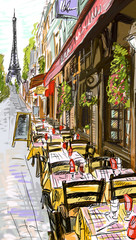 Wall Murals Illustration Paris Paris street - illustration