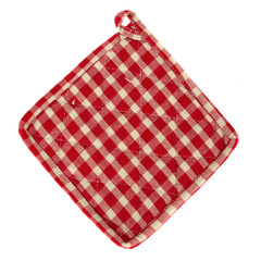 red checked padded oven mitt