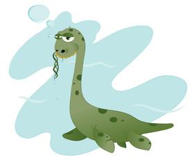Photo sur Plexiglas Dinosaurs Funny Nessie eating