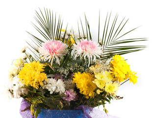 bouquet of yellow and orange flowers isolated