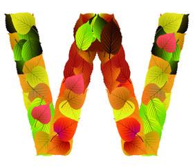 Buchstabe aus Blättern - W