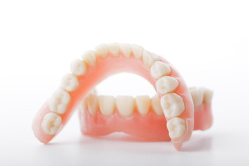 medical denture smile jaws teeth on white background