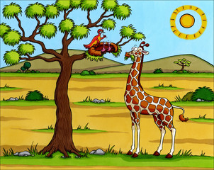 Afrika Cartoon - Giraffe in der Savanne