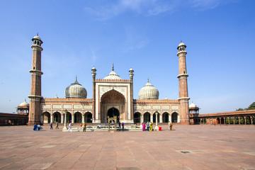 Stores à enrouleur Delhi Jama Masjid Mosque, old Delhi, India.