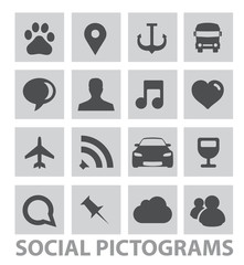abstract social pictograms symbols set isolated