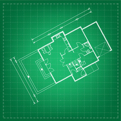 vector illustration of house project. house blueprint
