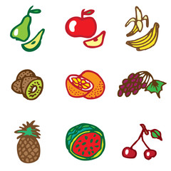 fruits hand drawn icons in vector
