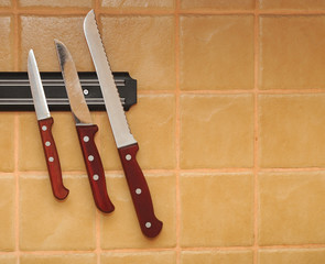 A set of knifes are hanging on a kitchen wall.