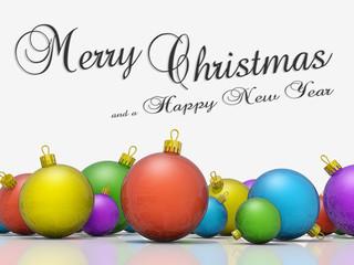 Christmas ornaments row Merry Christmas Happy New Year