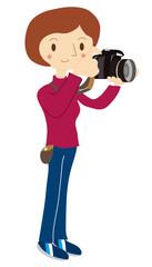 写真撮影をする女性のイラスト