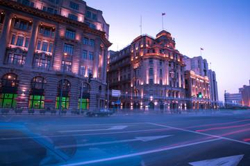 Evening city street traffic