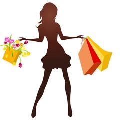 Obraz kobieta z zakupami - fototapety do salonu