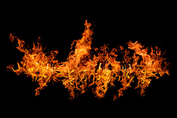 bright flame stripe isolated on black