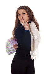 girl with money behind shows gesture quietly