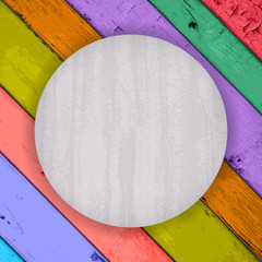 scratched grey badge on the Colorful Wooden Planks
