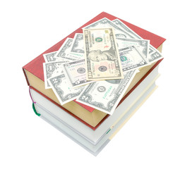 books and money isolated on white background