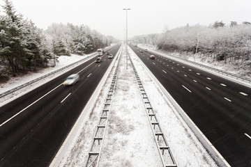 Dutch highway in winter with snow