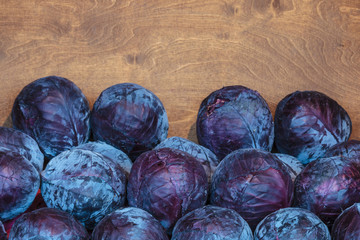 Fresh red cabbage in a wooden box