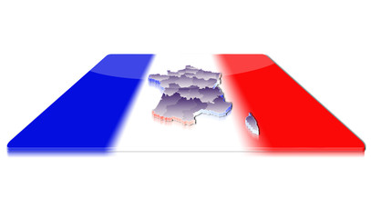A simple 3D map of France on a 3d flag