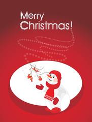 A happy snowman with rowan branch. Christmas postcard