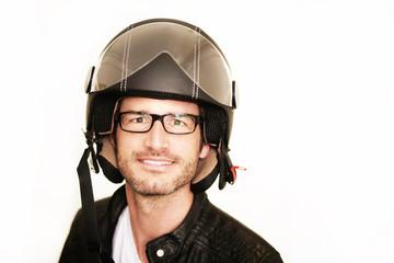 Wall Mural - Rollerfahrer mit seinem Helm