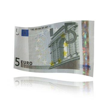 Actual billete de 5 euros. Banknote.