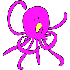 funny octopus cartoon hand-drawn