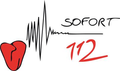 Herz - Herzinfarkt - Notruf - 112 - sofort - Notarzt rufen