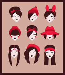 collection of girls with fashion head accessories