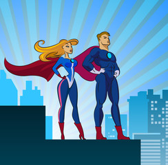 Photo sur cadre textile Super heros Super Heroes - Male and Female