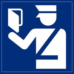 Papier Peint - Schild blau - Paßkontrolle