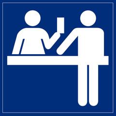 Papier Peint - Schild blau - Ticketverkauf