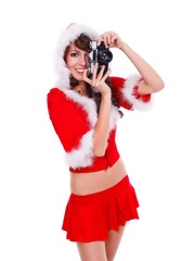 Santa helper with retro camera