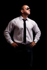 Portrait of secret agent standing
