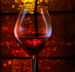 Wineglass with abstract bokeh background