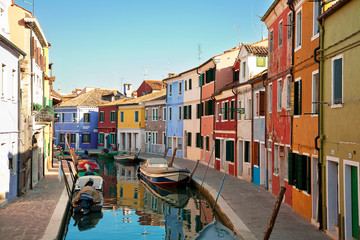 Street multicolored view in Burano, Venice, Italy
