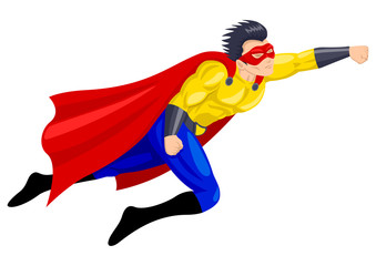 Poster Superheroes Superhero with a mask in flying pose