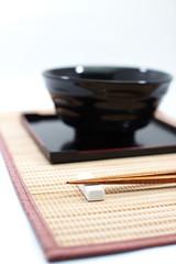 Chopsticks in asian set table