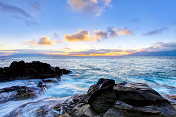 Island Maui cliff coast line with ocean. Hawaii.