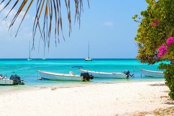 Tropical beach with boats, Venezuela
