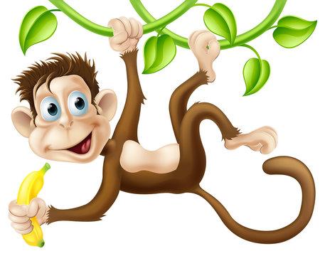 Monkey swinging with banana