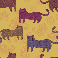 patterned  stylized cats seamless pattern