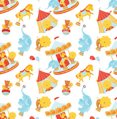 Circus pattern with animals