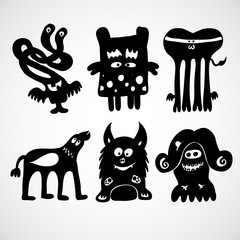 Space Monsters in doodle style