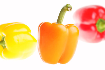 Orange Pepper in Front of  Red and Yellow Bell Peppers